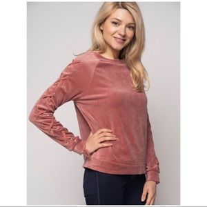 Tops - Velour Long Sleeves with Crisscross Sleeves